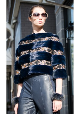 Blue mink fur bolero with lace trim