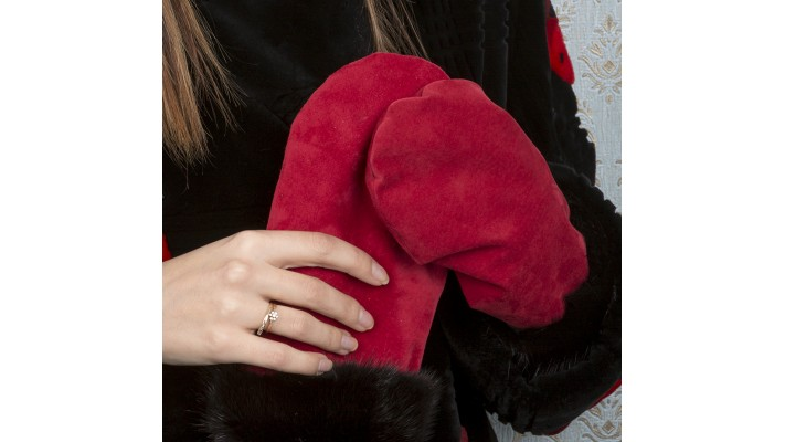 Black Mink fur Reversible MITTENS