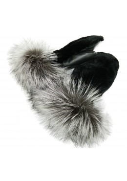 Sheared BEAVER fur MITTENS with Silver Fox fur trim inside mink fur