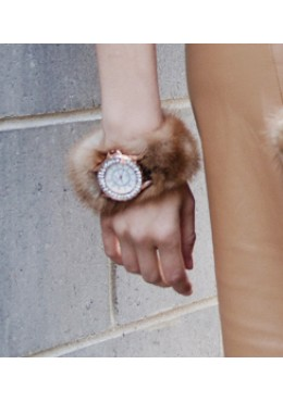 WATCH with pastel mink fur bracelet