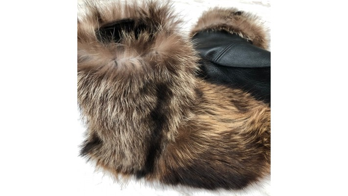 Raccoon fur inside Leather Slippers