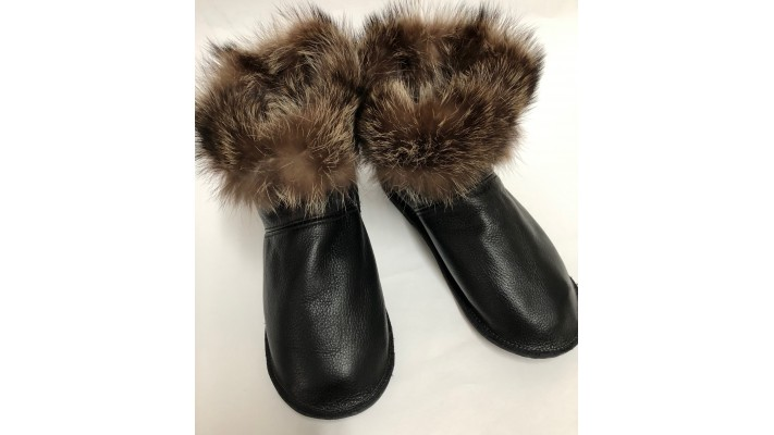 Raccoon fur inside Leather boots