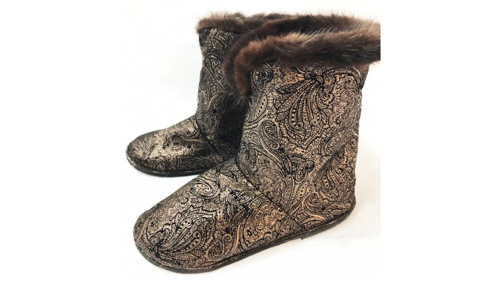 Raccoon fur inside Leather Boots with Mink Trim