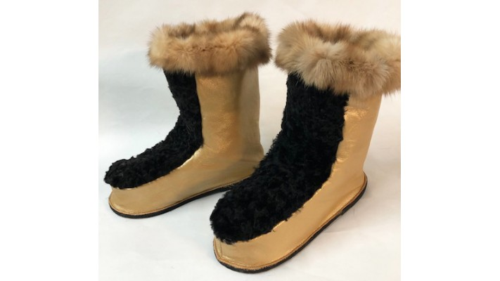 Beaver fur inside Leather boots with Sable Fur
