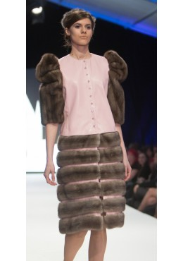 Leather COAT removable SKIRT with mink fur trim
