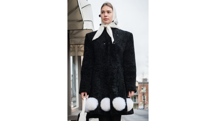 Black sheared broadtail fur coat