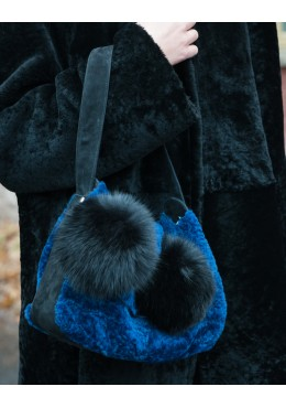 Sheepskin fur  handbag with fox fur trim