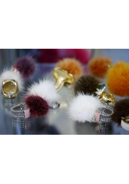 Ring with mink fur trim