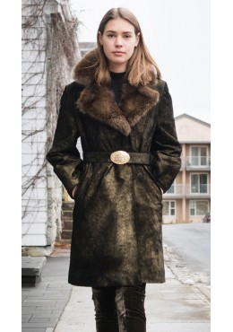 Golden suede coat with fisher fur trim