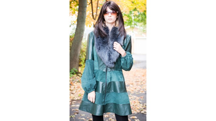 Green Leather coat
