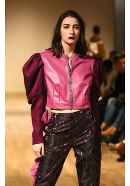 Pants with pink and black leather strip