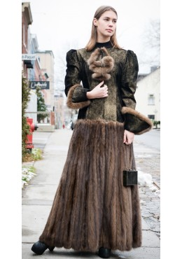 Golden suede coat with Russian sable fur skirt