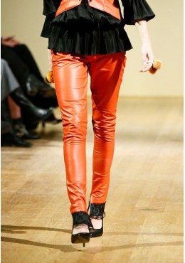 Orange leather pants