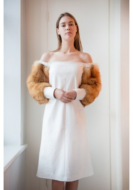 White leather dress with red fox fur sleeves
