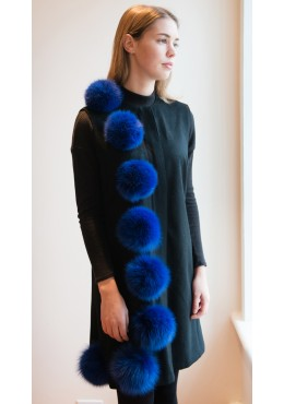 Cashmere vest with fox fur trim