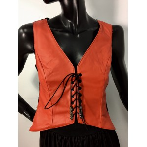 Veste en cuir orange