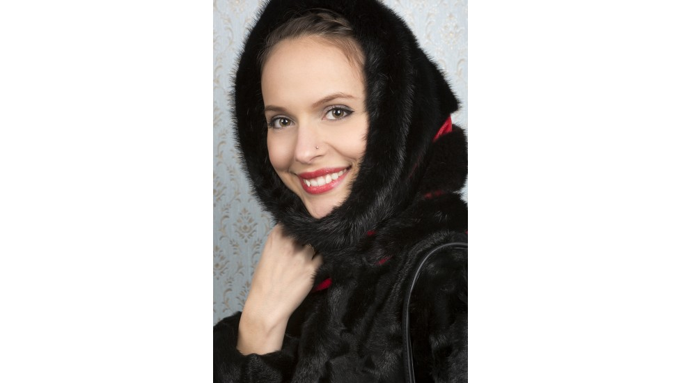 Black mink fur TUBE-HAT