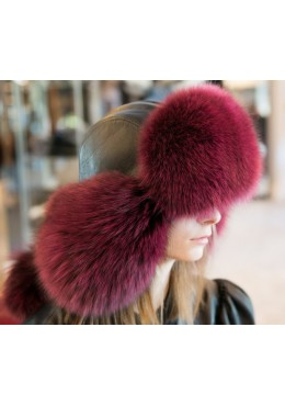 Burgundy fox fur HAT