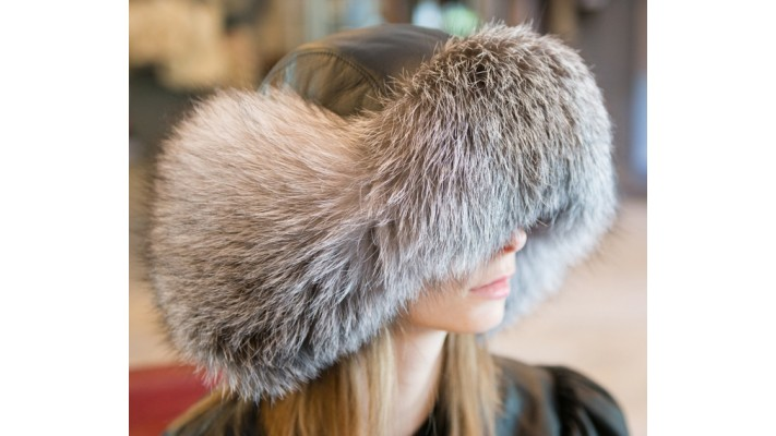 Indigo fox fur HAT