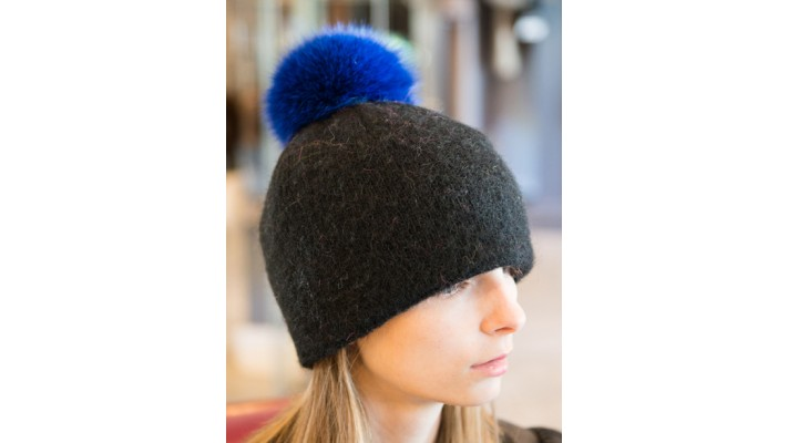 Hat with blue fox fur removable pompon