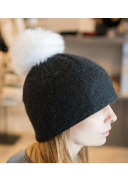 Hat with white fox fur removable pompon