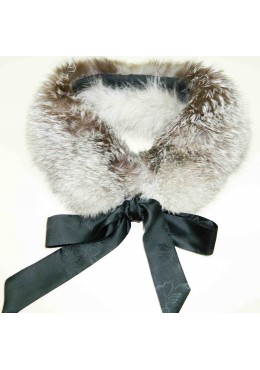 Indigo fox fur COLLAR SCARF with  ribbon