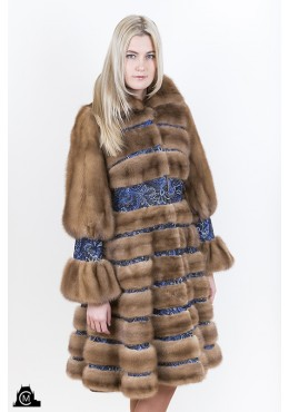 Mink fur COAT with print suede trim