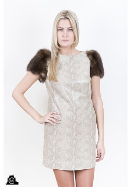Leather DRESS with sable fur