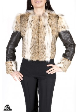 Lynx fur JACKET with leather trim