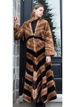 Diagonal mink fur COAT