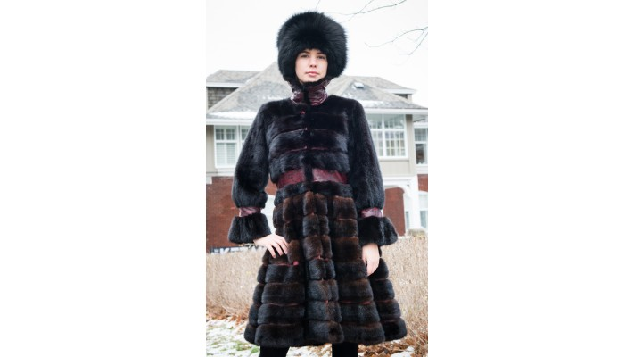 Mink fur COAT with printed leather trim