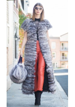 Silver fox fur vest with leather lignes