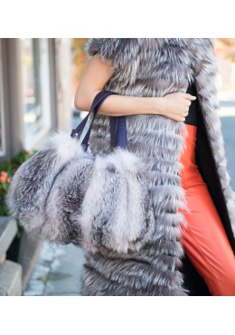 Indigo fox fur handbag