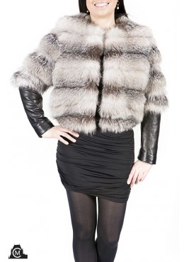 Silver fox fur JACKET with leather trim