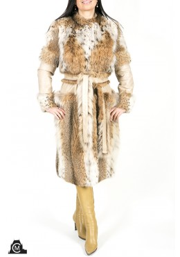 Lynx fur COAT with leather trim