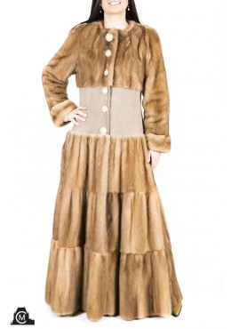 Mink fur COAT with suede trim