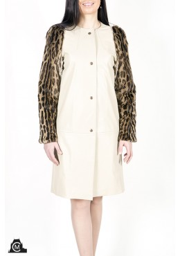 Leather COAT with ocelot fur