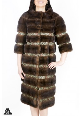 Mink fur COAT with ribbon
