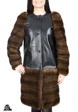 Leather COAT with mink fur trim
