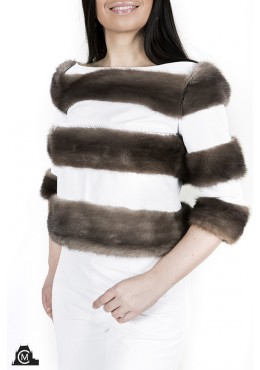 Leatger SWEATER with mink fur trim