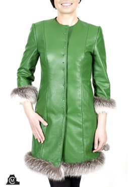 Leather COAT with cross fox fur trim