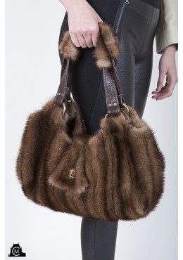 Brown mink fur HANDBAG