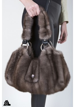 Gray mink fur HANDBAG