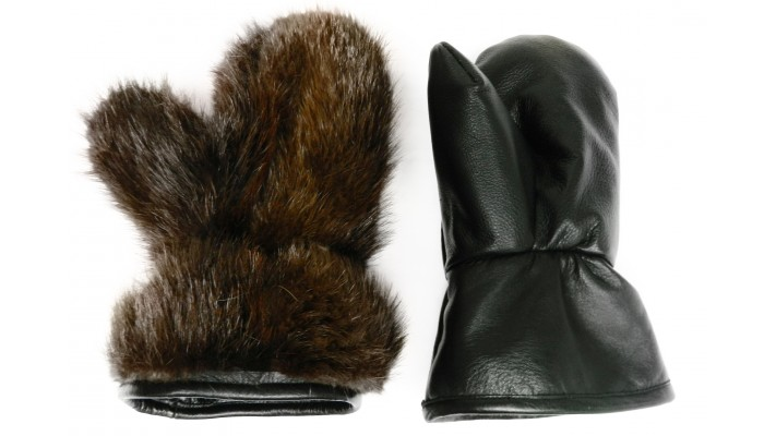 Leather MITTENS Beaver fur lined