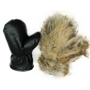 Leather MITTENS Coyote  fur lined