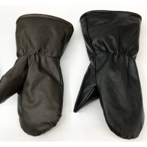 Leather Reversibles Long MITTENS Beaver fur lined