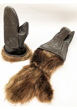 Leather Reversibles MITTENS Beaver fur lined