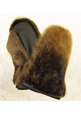 Natural Beaver fur MITTENS