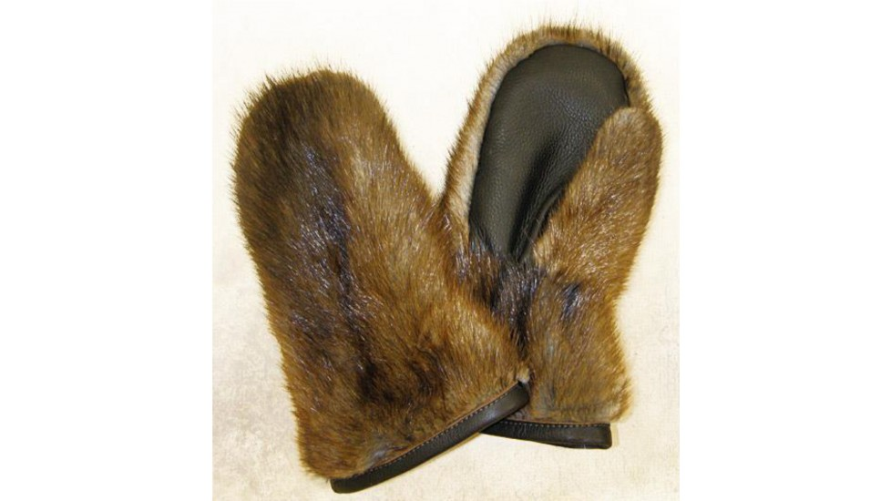 Natural Muskrat fur MITTENS
