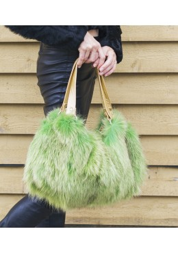 Fox fur dyes green handbag